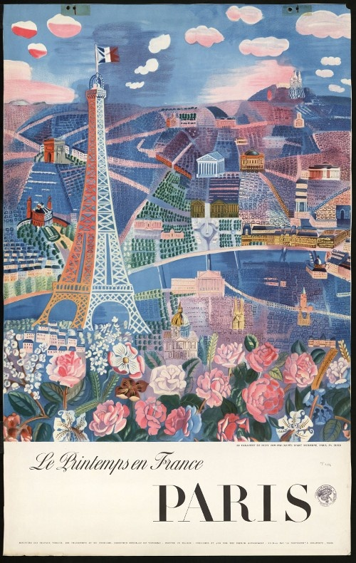 """ Le printemps en France/ Paris "" Campagne publicitaire, Direction Générale du Tourisme, ""LA PHOTOLITH L. DELAPORTE"" (Imp.), [1958], photo de ELSER d'après une peinture de Raoul Dufy, [détail du Paravent (Paris, Musée national d'art moderne)], 2 ex., 99 x 62 cm, couleur. Archives nationales, 20050205 art. 312. © Archives nationales, France"