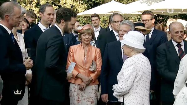 Queen Elizabeth in conversation with a bearded Prince Georg Friedrich of Prussia at the garden party: