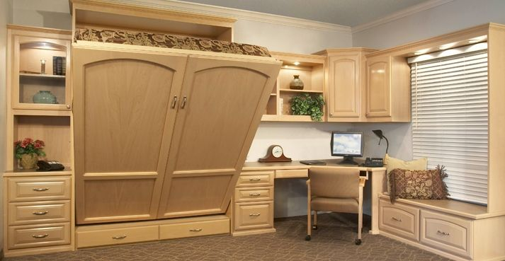 An office system with a built in murphy bed.(files in window seat. Do this in my office but bed and window seat change places