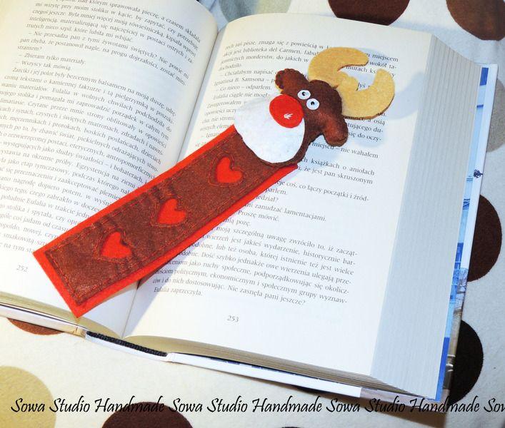 Rudolf - zakładka do książki - filc - Sowa_Studio_Handmade - Zakładki do książek