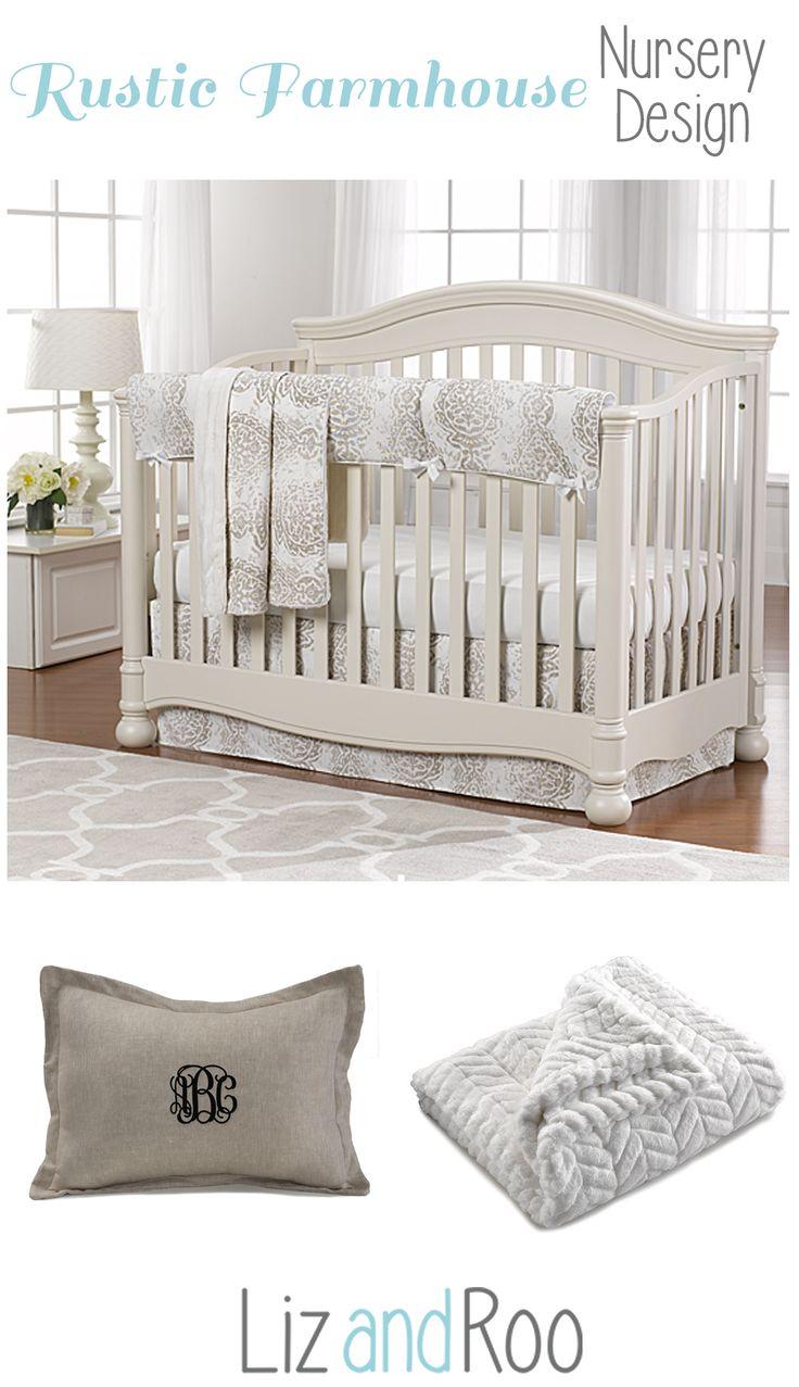Farmhouse Nursery Design   French Country Nursery   Gender Neutral Baby Bedding