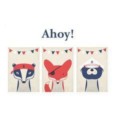 Retro Piraten Poster, A4 festgelegt, nautische Tiere, Vintage Kunstdruck, Wand Dekor, Kinderzimmer Wand Dekor, Bild, Seemann, Meer,…