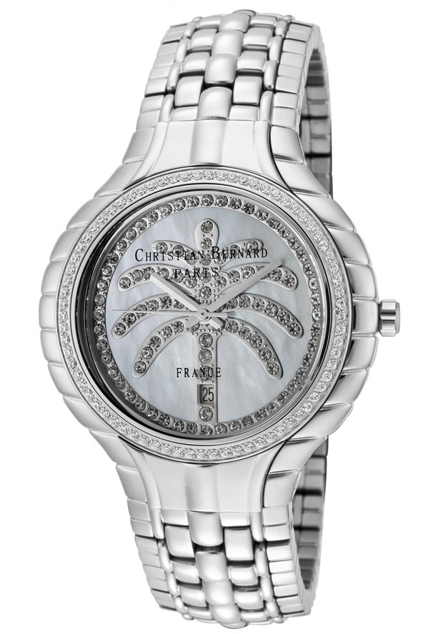 Price:$217.59 #watches Christian Bernard MA368ZWW6, Resplendent, sensuous and detailed, with a slightly curved glass and ribbon esges along the casee, expresses its very distinguished character