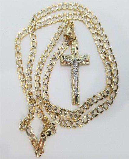 e10a613542ac8 10k Yellow White Gold Cross Crucifix Jesus Pendant Charm Nugget Cuban Chain  Set by RG D