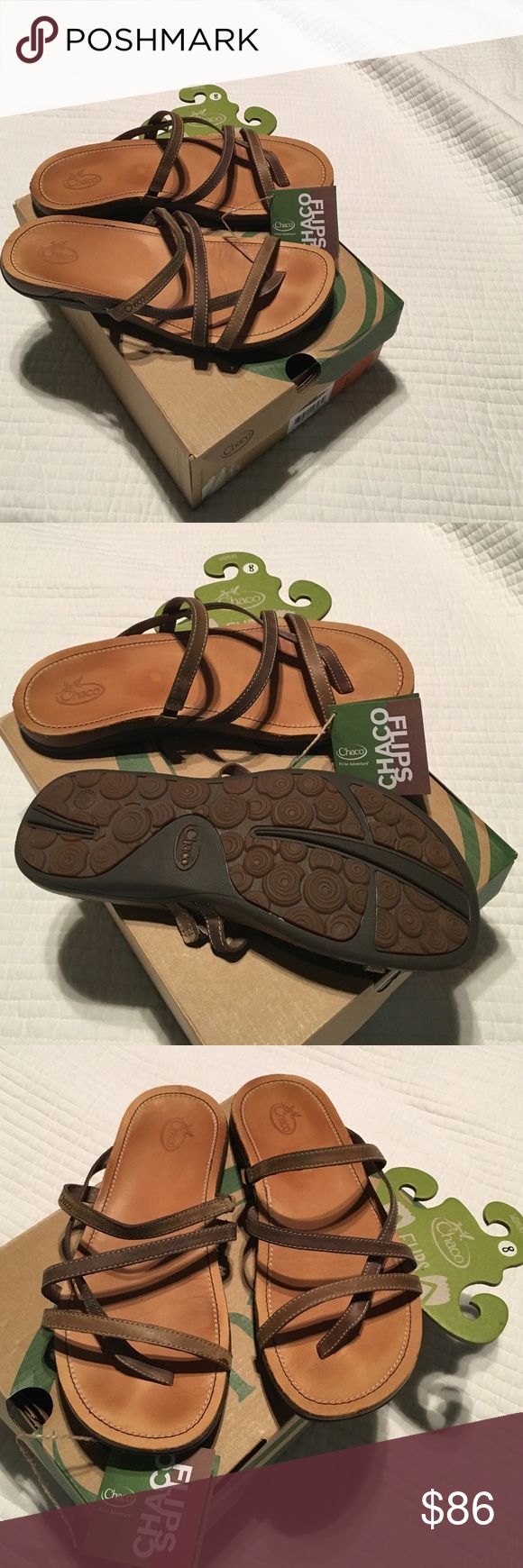 TODAY ONLY SALE Chaco  Leather Sandals, ladies Excellent condition, only worn maybe three times if that. You can tell from picture. Just bought in July 2016. They just don't work for me ,  I needed a bigger size. I have the box as pictured.  All Leather straps, ultra soft pigskin lining across nubuck leather footbeds. Brown in color, women's, 💯 % authentic, down from $ 75.00 Chacos Shoes Sandals