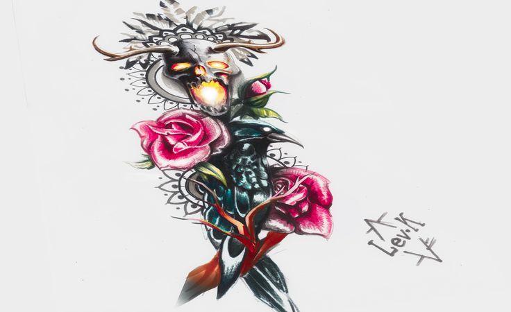 tattoo. sketch. Ворон. Ворона. Crow. Bird. тату эскиз. rose. роза. neotraditional.skull череп