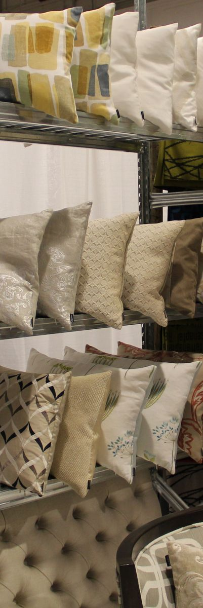 Shopping for pillows. We got it at The Interior Decorating Show