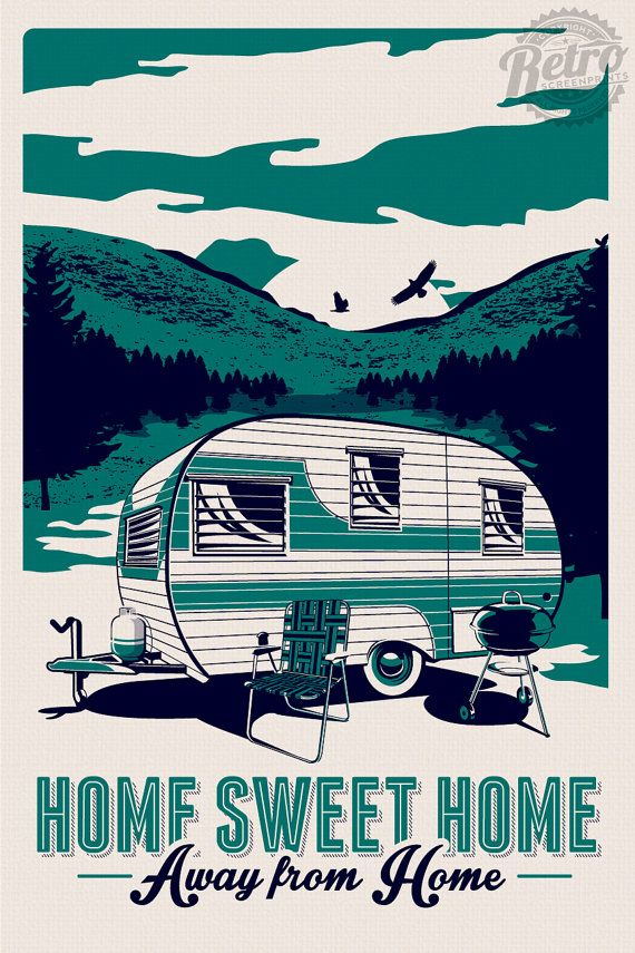 vintage rv retro camping silk screen print poster trailer camper summer - etsy