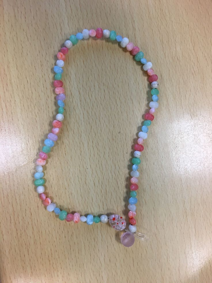 Pastel rainbow jelly bean necklace for baby girls!