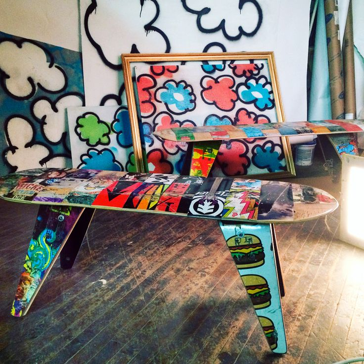 """Some projects are tougher than others. This beautiful 48"""" Skateboard Bench is custom memorial piece we recently completed. It features artwork related to the lost loved one's life and interests. We also incorporated family images and engraving. . . #inmemory #skateboarding #bench #skateboard #design #recycling #reclaimed #custom #memorial #street #art #streetstyle #recycledskateboards #punk #burger #reviveskateboards #element #alienworkshop #aliens #dgk #chicken #eggs #metal #guitar…"""