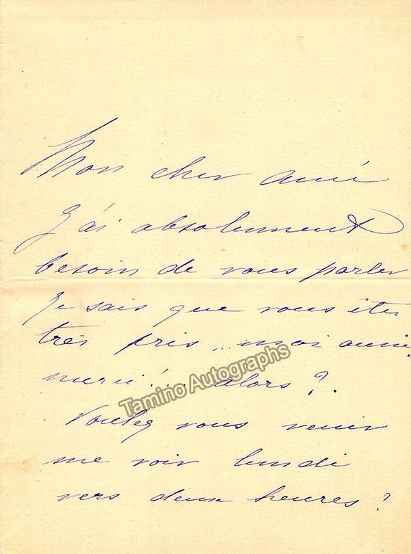 Granier, Jeanne - Autograph Note Signed