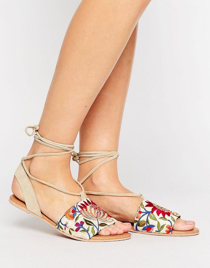 Suede Embroidered Tie Leg Flat Sandals - floral