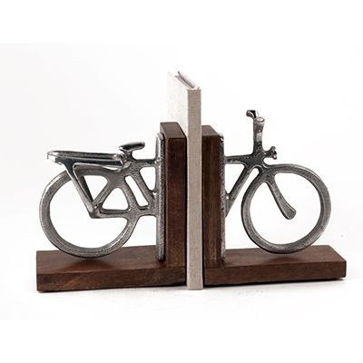 Personalised - BICYCLE BOOKENDS - Engraved Aluminium. Fabulous just as they are, or have them hand-engraved with names, dates or a message along the wheels to create a keep-forever gift that is useful too!