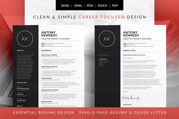 Essential Resume - Antony by bilmaw creative on @creativemarket