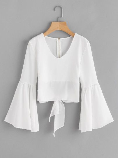 Flare Sleeve Bow Tie Back Blouse -SheIn(Sheinside)
