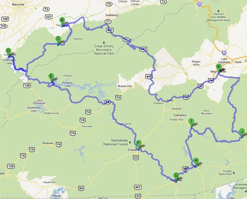 "Ride of a Lifetime: the 300 mile loop starting and ending at Waynesville, North Carolina, (""K"" on the map) near Maggie Valley. This route takes you on some of the most beautiful, twisty roads in the Blue Ridge and Smoky Mountains of North Carolina and Tennessee, including the infamous Tail of the Dragon (300-curves in 11 miles) and Moonshiner 28."