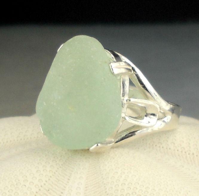 Genuine Aqua Sea Glass Ring In Sterling Silver
