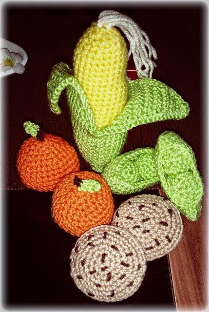 Obst, Gemüse und Kekse Häkeln Kaufladen