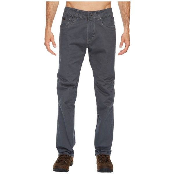 KUHL Rebel Jeans (Carbon) Men's Jeans ($79) ❤ liked on Polyvore featuring men's fashion, men's clothing, men's jeans, mens zipper jeans, mens straight jeans, mens flap pocket jeans, mens lined jeans and mens jeans