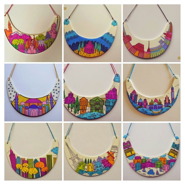 Hand Painted, Bib, Collar ,Statement, Necklace ,City https://www.facebook.com/sofijafiligranska