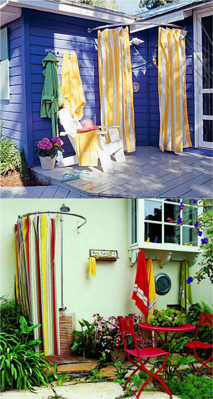 32 inspiring DIY outdoor showers: lots of ideas on how to build enclosures with simple materials, best outdoor shower fixtures, creative designs and more! - apieceofrainbow.com