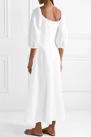 ad93a9b8a0 Mara Hoffman - Mika Off-the-shoulder Tencel And Linen-blend Midi Dress -  White