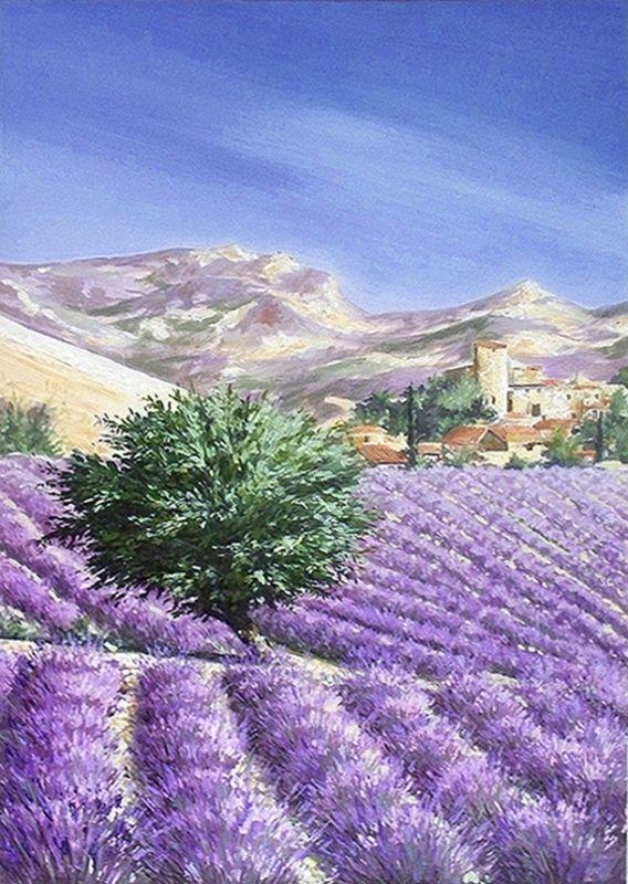 Tableau Peinture Art provence lavande paysage village Paysages Peinture a l'huile  - LAVANDES EN PROVENCE