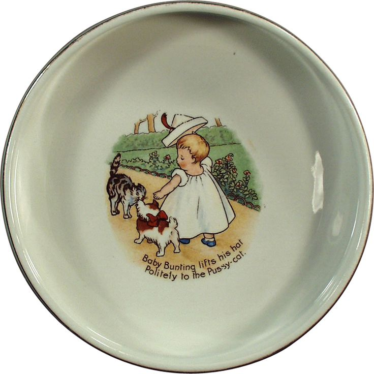Old Homer Laughlin Nursery Rhyme Baby Plate - Baby Bunting  sc 1 st  Pinterest & 193 best Vintage and Antique Childrens Dishes images on Pinterest ...