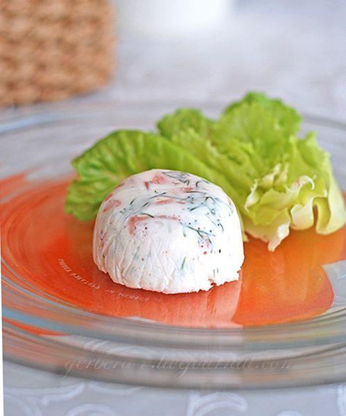 Парфе из форели с салатом из фенхеля.