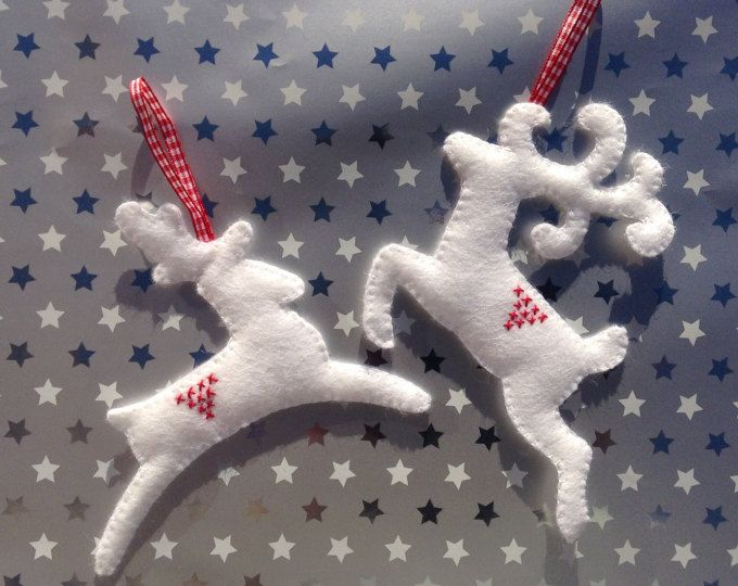 Fieltro decoraciones colgantes de Reno blanco - juego de dos