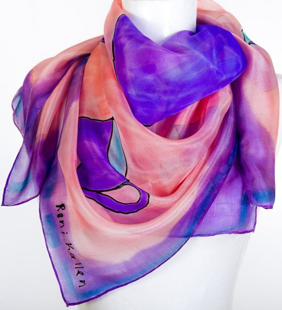 Hand Painted  Silk Scarf Pottery Blue Violet by KallenSilkScarves