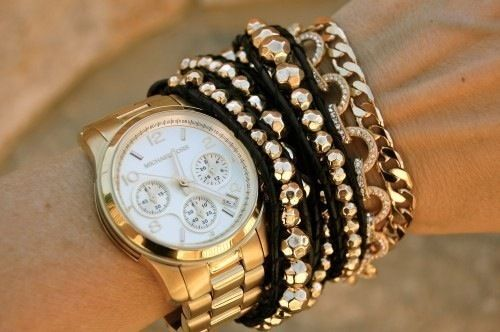 Gold Watch with Bracelets!!: Arm Candy, Blackgold, Watches Bracelets, Gold Bracelets, Stacking Bracelets, Black Gold, Michael Kors Watches, Gold Watches, Arm Parties