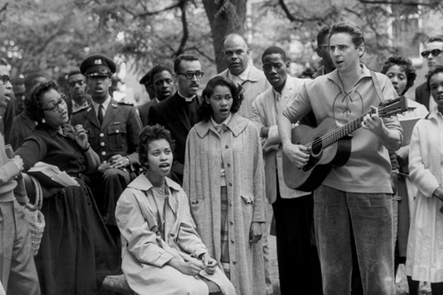 "Eve Arnold     Student Civil Rights Demonstrators Singing ""We Shall Overcome,"" Virgina State College, Petersburg, Virginia     1960"