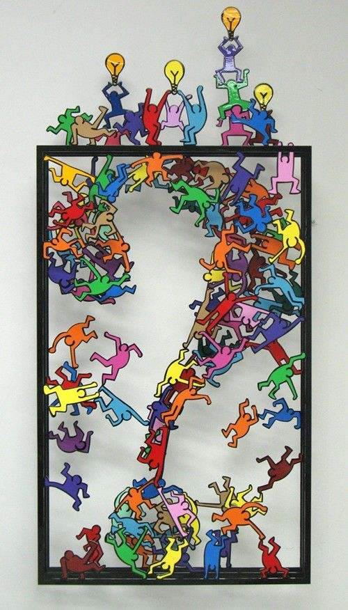 Sculpture de David Kracov (personnages semblables à Keith Haring)