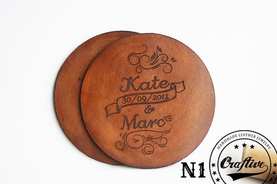 3rd Anniversary, Leather Anniversary Gift, Personalized Leather Coasters Set, Gift for her, third anniversary, Custom Name Date