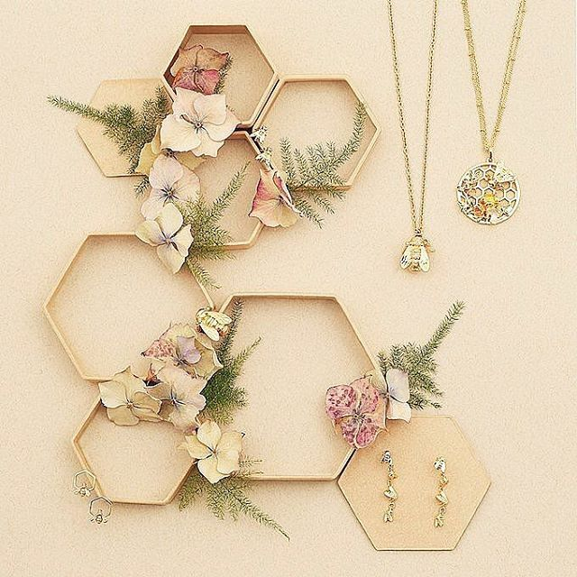 🌿🌸:: The Bees :: 🐝🌿 Have you seen the new members of our Bee family? ✨  .  .  .  #BillSkinner #aw17 #aw17collection #fashion #fashionphotography #bees #honeycomb #flatlay #design #lookbook #styling #bumblebee #queenbee #handcrafted #shopindie #lookbook #newin #beejewellery #beejewelry #famousbees