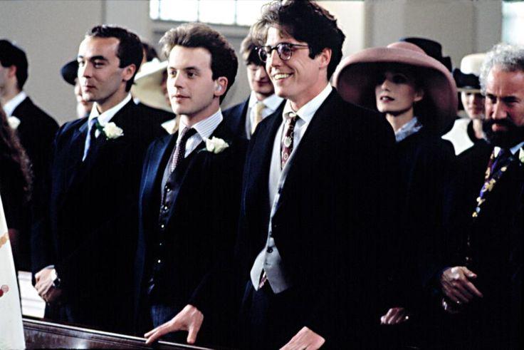 FOUR WEDDINGS AND A FUNERAL, John Hannah, David Bower, Hugh Grant, Kristin Scott-Thomas, Simon Callow, 1994. | Essential Film Stars, Hugh Grant http://gay-themed-films.com/film-stars-hugh-grant/