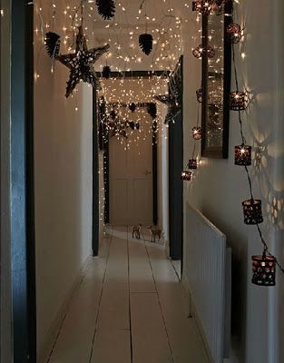 I like the idea of hanging christmas tree lights in the hallway :)
