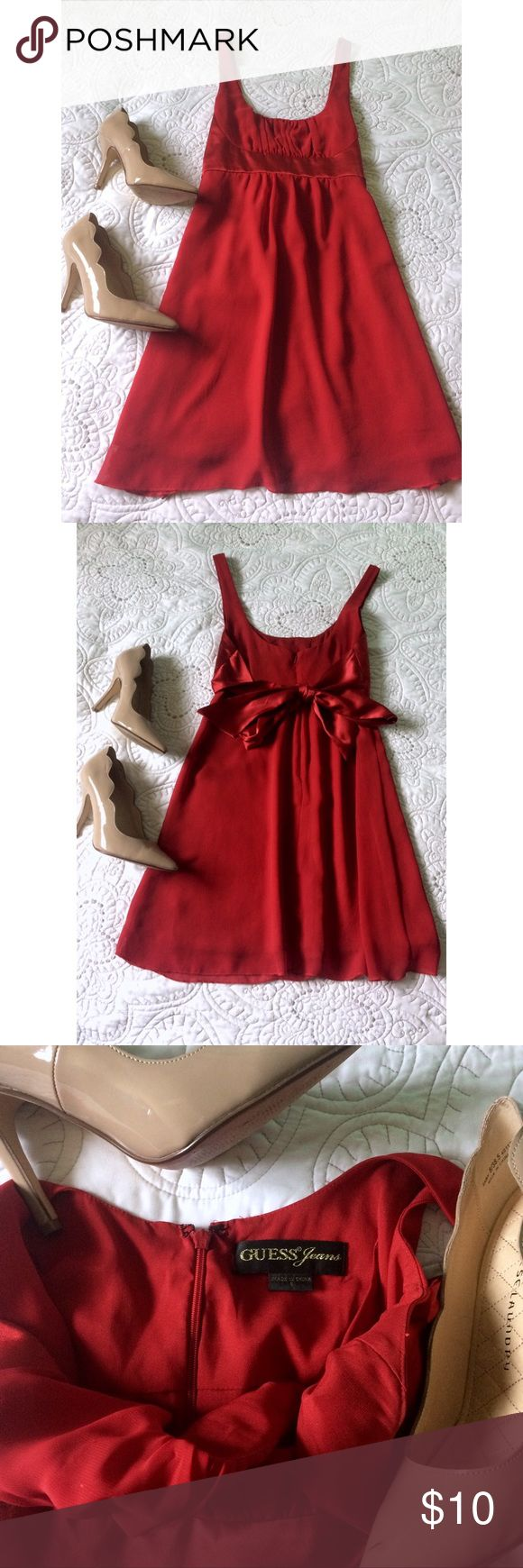 """GUESS Red Chiffon Dress (S) Flowy red dress. Chiffon fabric with silky satin tie-back waistband.  Features a pleated bodice, empire waist, and a-line skirt. Back zipper closure. 33.5"""" in length. Size small. No flaws! Guess Dresses"""