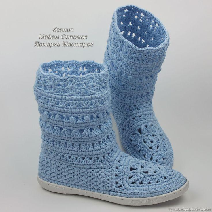Купить Сапожки льняные голубые вязаные - рыжий, обувь ручной работы, сапожки вязаные
