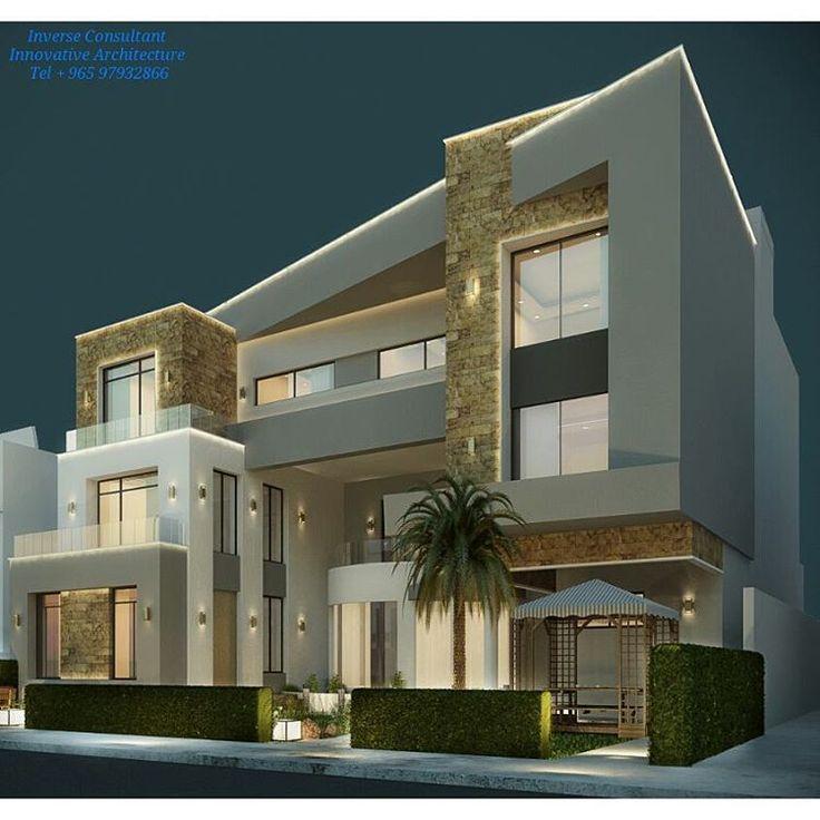 Private villa concept designed by inverse architecture for Modern house design kuwait
