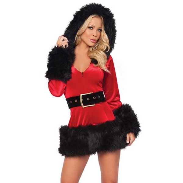 Red Contrast Faux Fur Trim Hooded Christmas Costume ($30) ❤ liked on Polyvore featuring costumes, womens santa costume, sexy women halloween costumes, santa claus suits, womens costumes and ladies santa costumes
