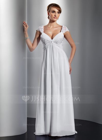 Holiday Dresses - $136.99 - A-Line/Princess V-neck Sweep Train Chiffon Holiday Dress With Ruffle Lace Beading (020014757) http://jjshouse.com/A-Line-Princess-V-Neck-Sweep-Train-Chiffon-Holiday-Dress-With-Ruffle-Lace-Beading-020014757-g14757