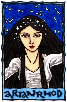 """Arianrhod (""""Silver Wheel"""", or """"Queen of the Wheel""""), is the Welsh Goddess of the Wheeling Stars, and one of the Children of Dôn, the Welsh mother goddess and counterpart to Danu. Arianrhod is the virgin mother of Lleu Llaw Gyffes, hero of light, and Dylan, child of the sea.    She is a celestial goddess, and Her realm is called Caer Sidi, which likely means """"Revolving Castle""""; Caer Sidi is depicted as a great turning island surrounded by Sea and located in the North. It is also one of the…"""