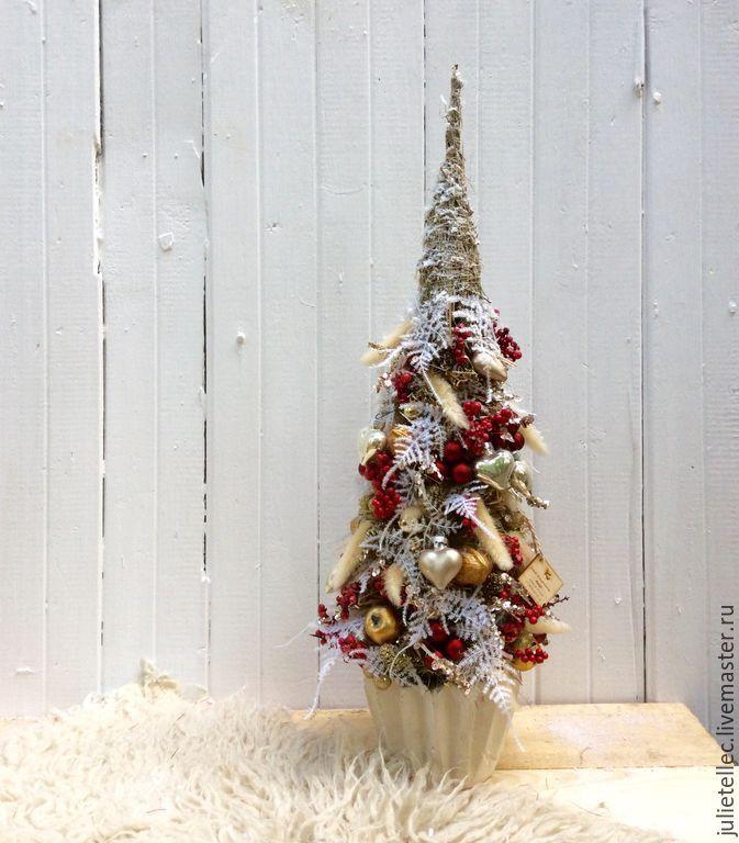 Купить Настольная елка - бордовый, марсала, Тренд сезона, новогодняя елка, настольная елка