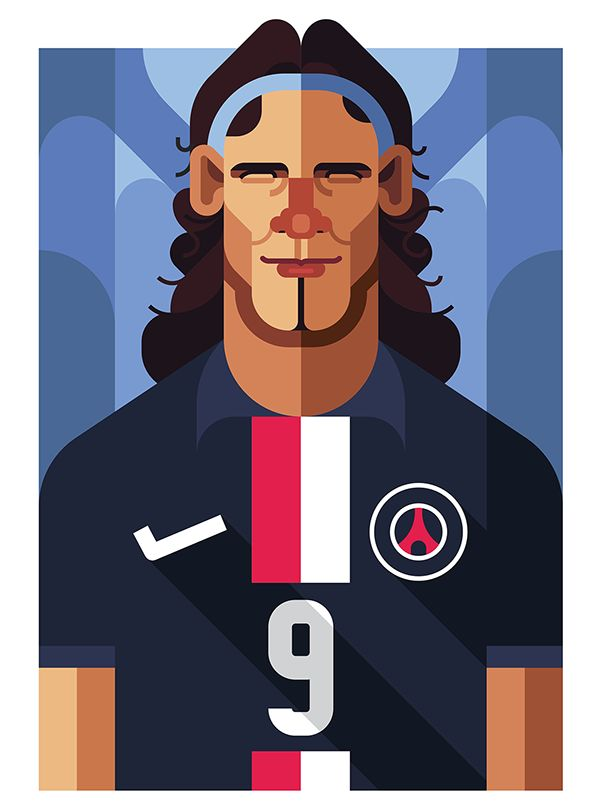 Football Players with flat design .