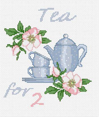 Tea for 2 free cross stitch pattern