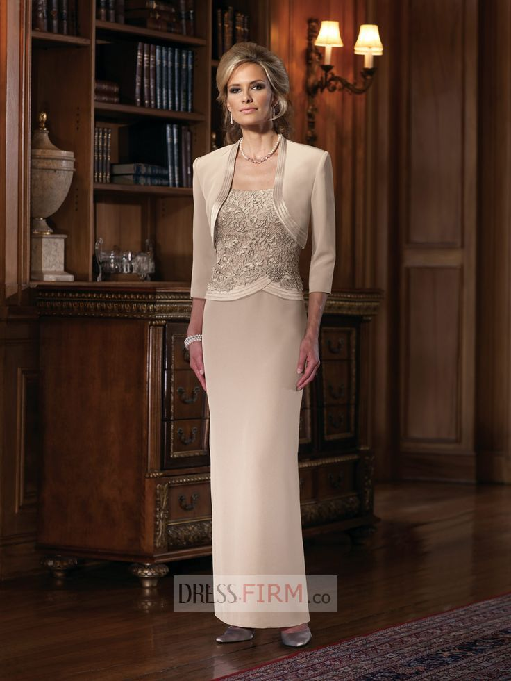 2015 Innovative Sheath/Column Straps Sleeveless Beading and Lace Floor-length Elastic Woven Satin Bride Mother Outfit With Jacket [HTMD-1035] - $ 156.99 :