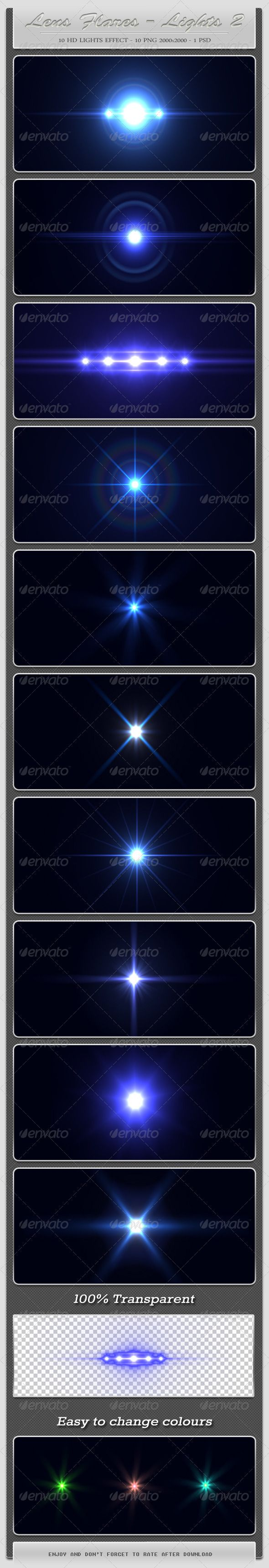 10 HD Lens Flares - Light Effects 2  #GraphicRiver        10 HD Lens Flares – Light Effects – Second Part includes   - 10 PNG files sized at 2000×2000 pixels ( 100% transparent)  - PSD file   Can be added to: text, images, logos, etc.                                                                                                                                                                                                                            Created: 4April12 GraphicsFilesIncluded…