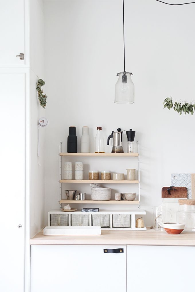 string shelving in the kitchen ♥